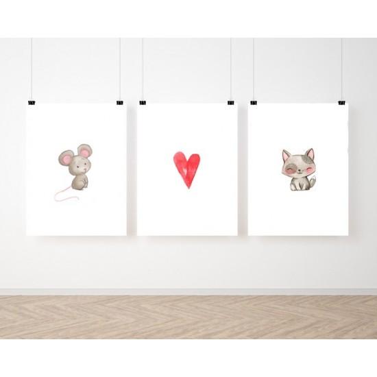 Maľovaná sada 3 detských plagátov so zvieratkami a srdiečkom