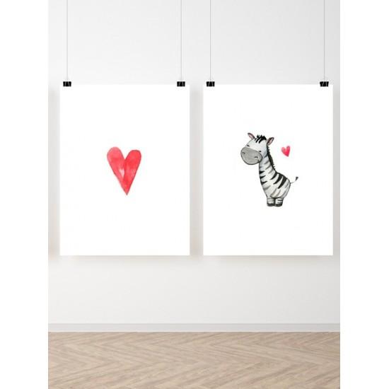 Maľovaná sada 2 detských plagátikov s motívom zebry a srdiečka