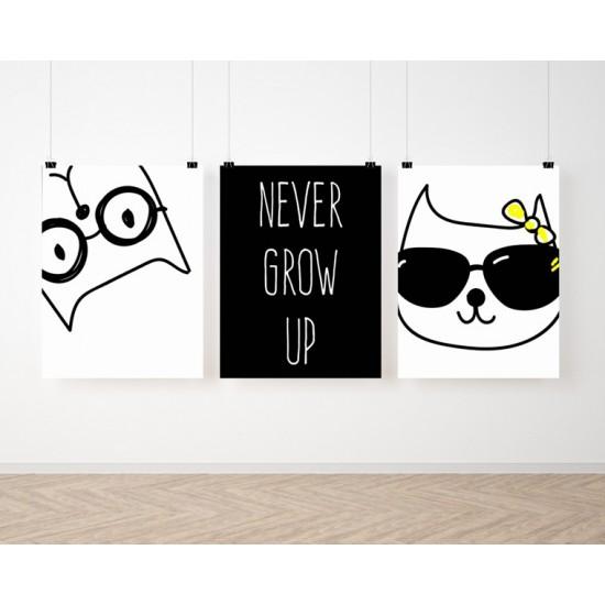 Detská sada 3 plagátov s mačičkami
