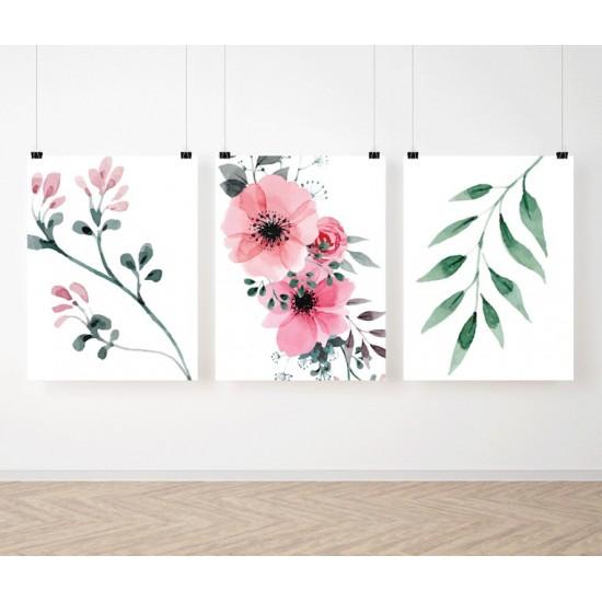Detská sada 3 plagátov s kvetinovým vzorom