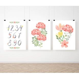 Detská sada 3 plagátov s číslicami a kvetinovým vzorom