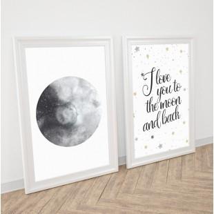 Detská sada 2 plagátov s motívom Mesiaca
