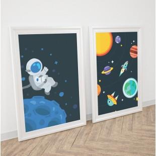 Detská sada 2 plagátov s motívom vesmíru a kozmonauta