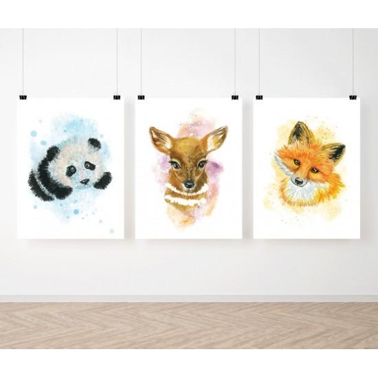 Detská sada 3 plagátov s motívom akvarelových zvieratiek