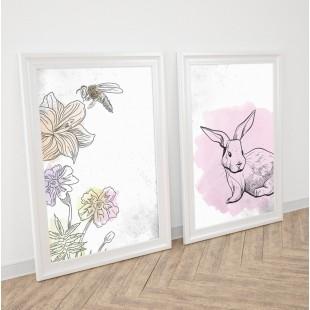Detská sada 2 plagátov s motívom maľovanej lúky