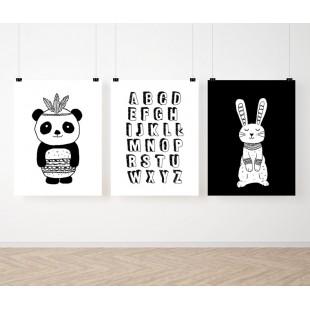 Čiernobiela detská sada 3 plagátov s abecedou a zvieratkami