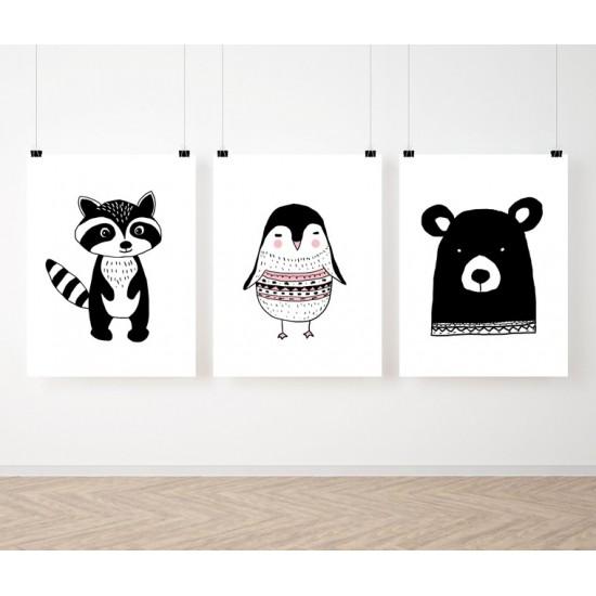 Čiernobiela detská škandinávska sada 3 plagátov so zvieratkami