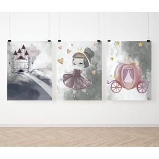 Sada 3 maľovaných detských plagátov