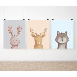 Farebná detská sada 3 plagátov so zvieratkami