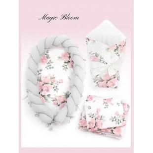 Svetlosivá dievčenská výbava pre novorodenca MAGIC BLOOM s kvetmi
