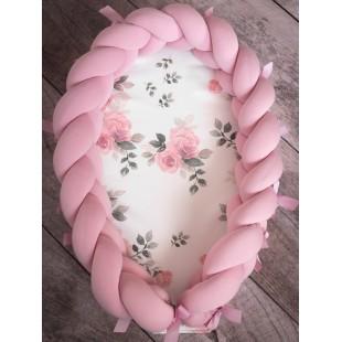 Detské hniezdočko pre novorodenca s ružovým ochranným vrkočom MAGIC BLOOM