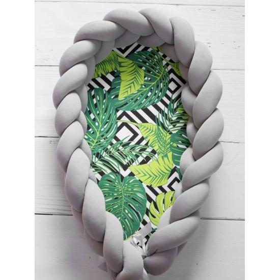 Zeleno sivý kokón pre bábätko so vzorom palmových listov
