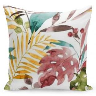 Biela obliečka na vankúš s farebným rastlinným vzorom