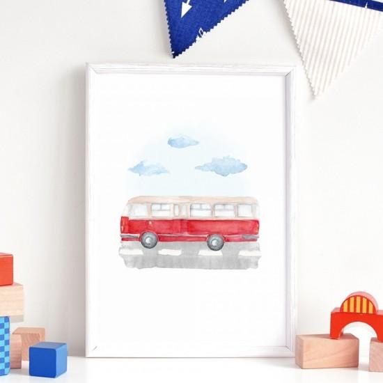 Plagát na stenu s motívom autobusu