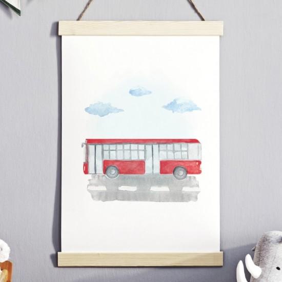 Plagát na stenu s motívom červeného autobusu