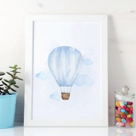 Plagát na stenu s motívom modrého vzdušného balóna