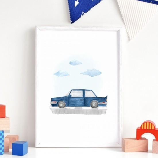 Plagát na stenu s motívom modrého BMW