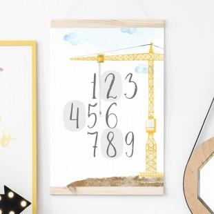 Detský plagát na stenu s motívom cifier a žeriava