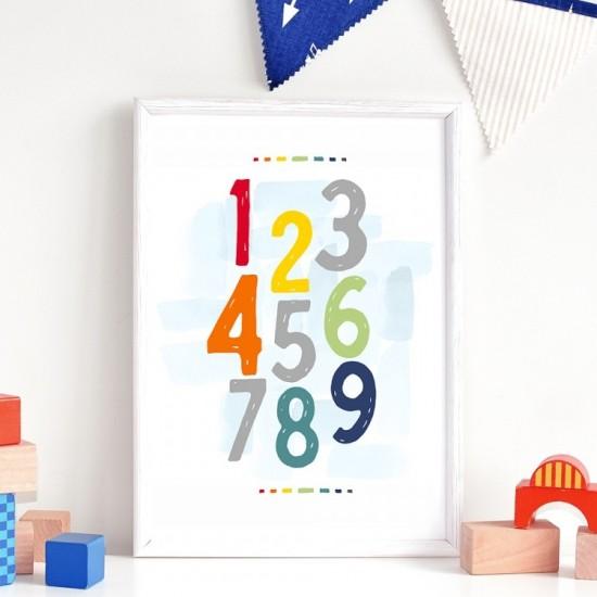 Detský plagát na stenu s farebnými číslicami