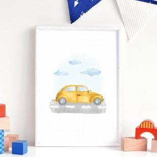 Detský plagát na stenu so žltým autom značky GARBUS