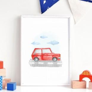 Detský plagát na stenu s malýcm červeným autom
