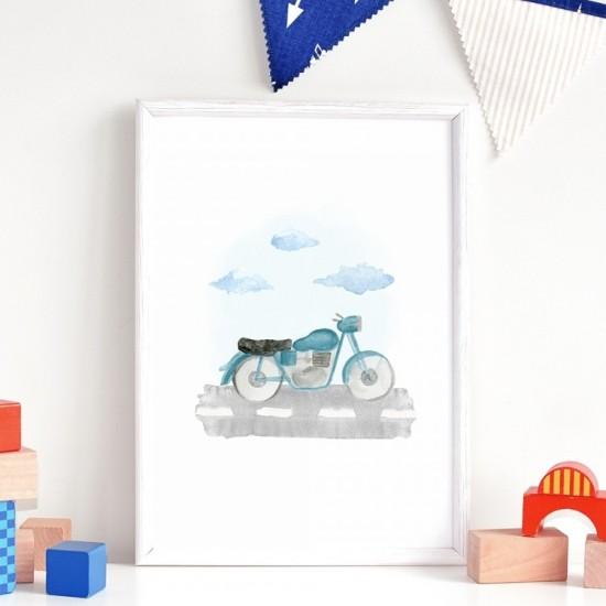 Plagát na stenu s motívom motorky