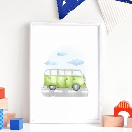 Detský plagát na stenu so zeleným autobusom