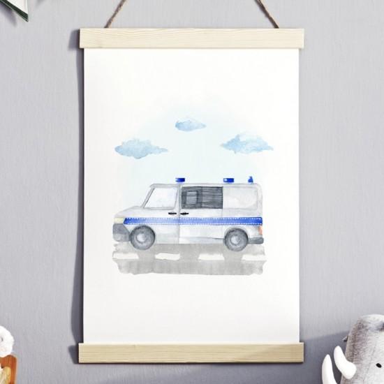 Plagát na stenu s motívom policajného auta