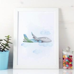 Detský plagát na stenu s lietadlom