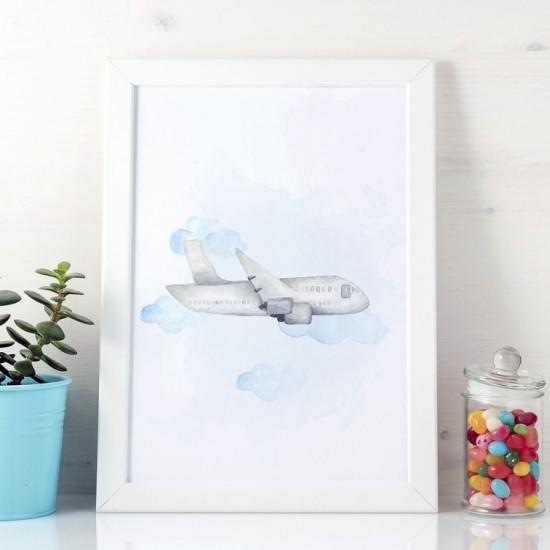 Detský plagát na stenu so sivým lietadlom