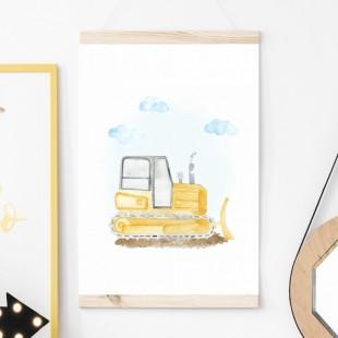 Detský plagát na stenu s buldozérom