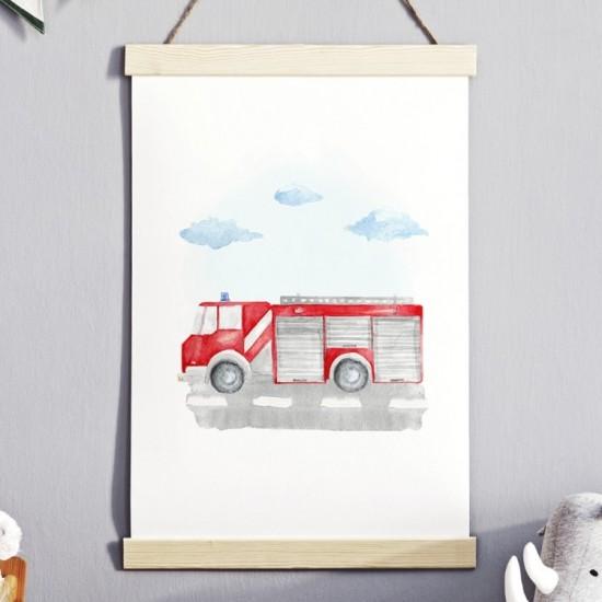 Detský plagát na stenu s požiarnickym autom
