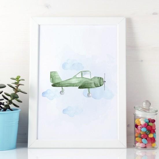 Plagát na stenu s motívom zeleného lietadla