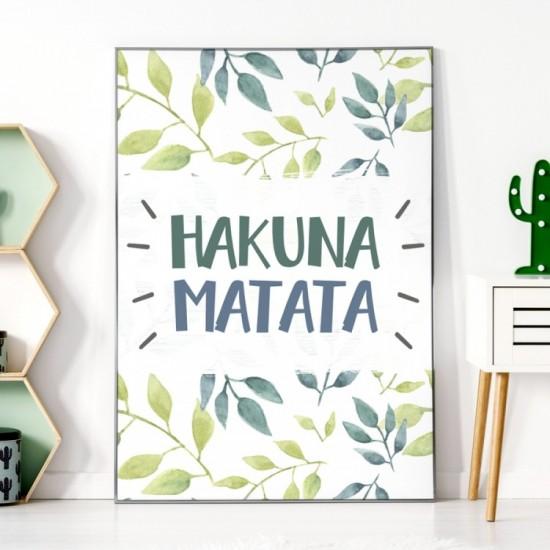 Zeleno biely detský plagát na stenu HAKUNA MATATA
