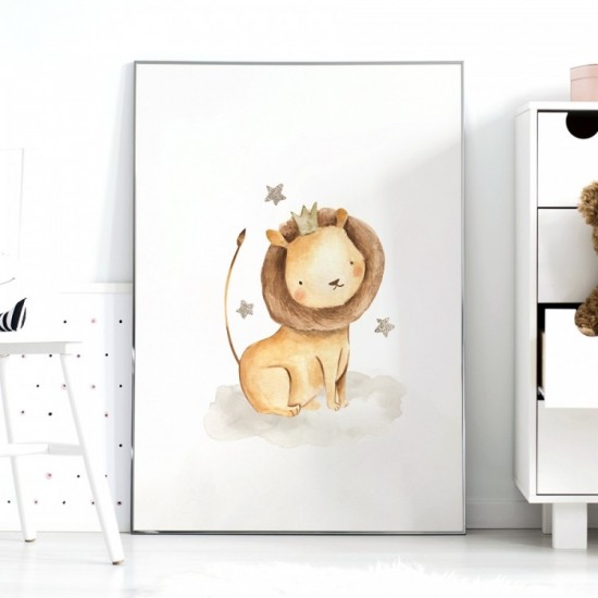 Hnedo biely detský plagátik na stenu s levíkom a hviezdami