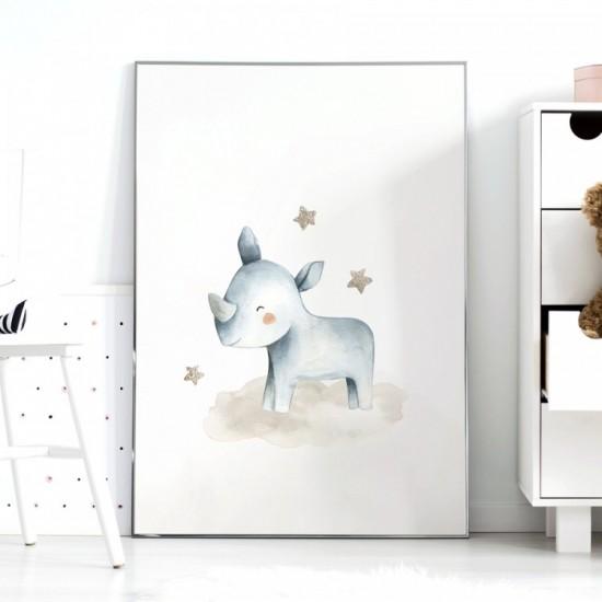 Detský plagátik na stenu s nosorožcom a hviezdičkami