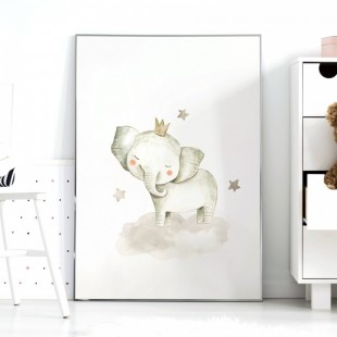 Detský plagátik na stenu so sloníkom a hviezdičkami