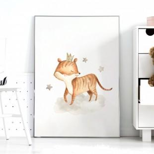 Detský plagátik na stenu s tigríkom a hviezdičkami