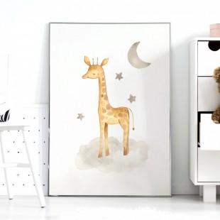 Detský plagátik na stenu so žirafkou a hviezdičkami a mesiačikom