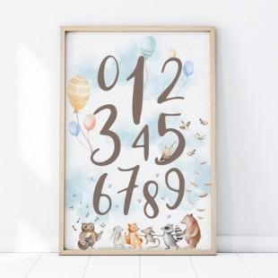 Plagát na stenu s motívom čísel a lesnými zvieratkami