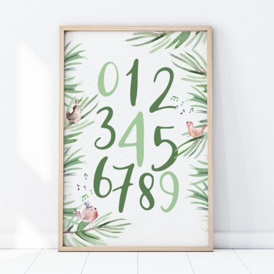 Zelený plagát na stenu s motívom čísel a vtáčikov