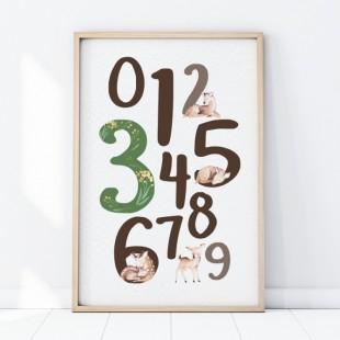 Plagát na stenu s motívom hnedých čísel a lesných zvieratiek