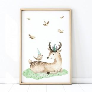 Plagát na stenu s motívom jelenčeka na lúke
