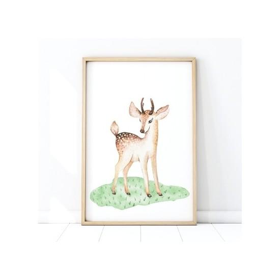 Detský plagát na stenu s motívom jelenčeka na lúke