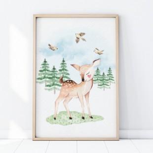 Detský plagát na stenu s motívom jelenčeka v lese