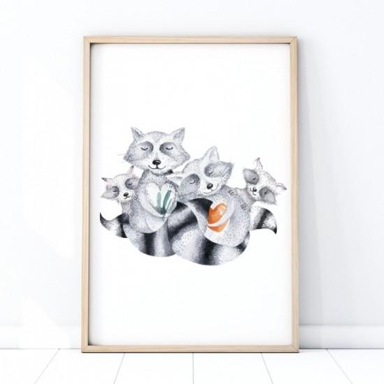 Detský plagát na stenu s rodinkou medvedíkov čistotných