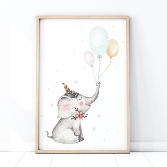 Plagát na stenu s motívom sloníka a balónmi