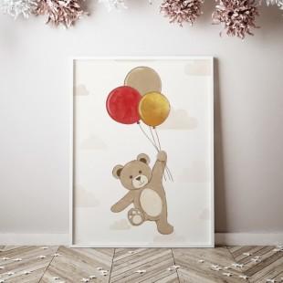 Plagát na stenu vzor medvedík s balónikmi