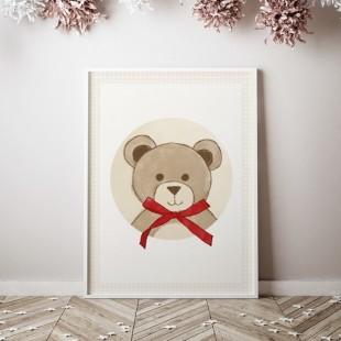 Plagát na stenu vzor medvedík s červenou mašľou
