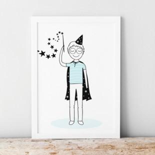 Bieločierny plagát pre deti s motívom kúzelníka